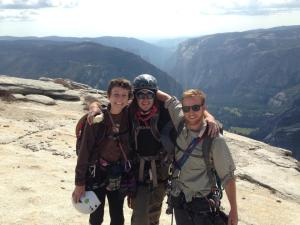 Will, Ashley and myself at the top of Half Dome after our first excursion on Snake Dike. Less than one year later, I would be standing on this same spot after conquering the Northwest Face.